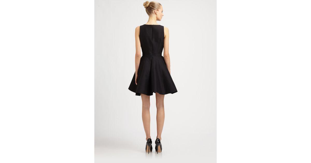 Lyst Halston Side Ruffle Dress In Black