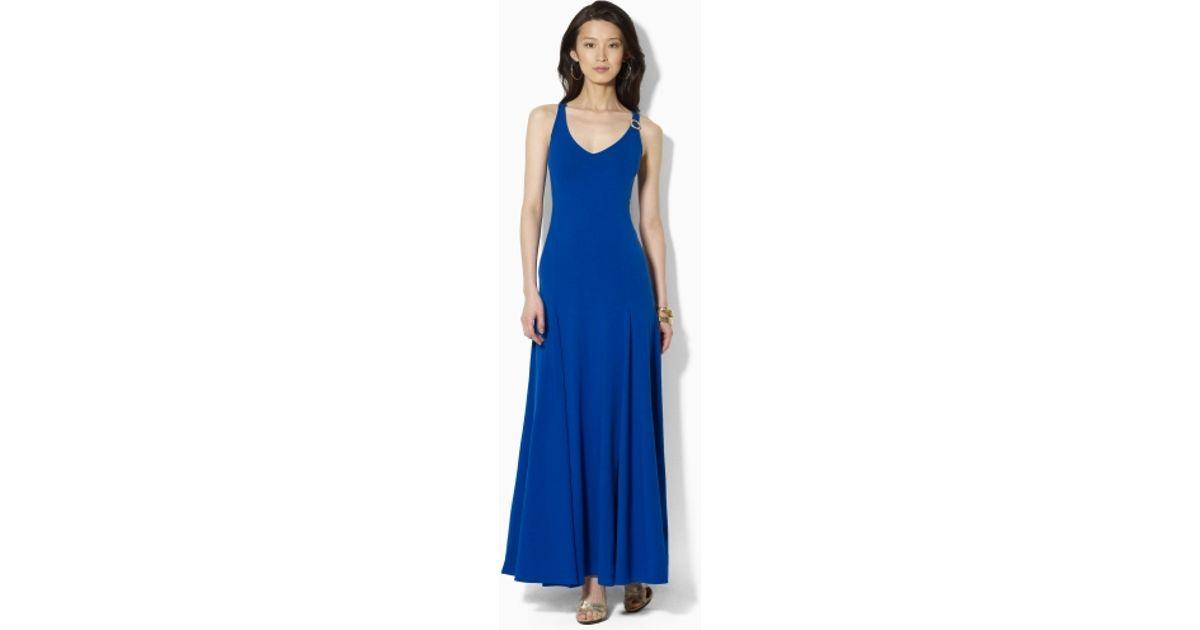 7a4508ee1be Lyst - Lauren by Ralph Lauren V Neck Maxi Dress in Blue