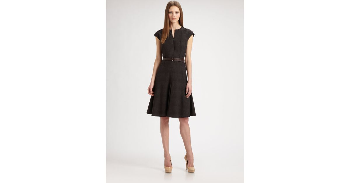 Akris Punto Belted Wool Dress In Black Lyst