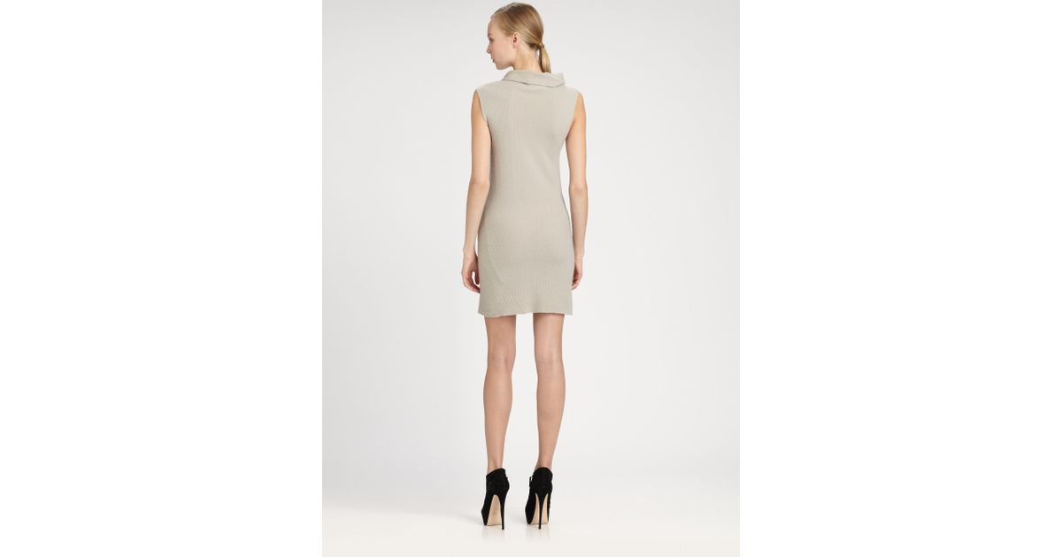599a22c51725a Lyst - Donna Karan Sleeveless Cashmere Turtleneck Dress in Gray