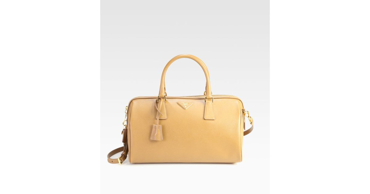 efdd8337313f Prada Convertible Saffiano Lux Boston Bag in Natural - Lyst