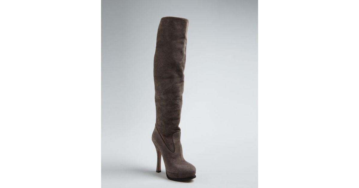 Prada Grey Suede Platform Heel Tall Boots in Gray | Lyst