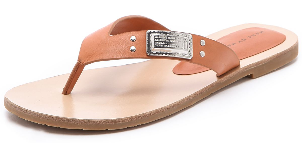 a6002f3e0fd24 Lyst - Marc By Marc Jacobs Logo Plaque Flip Flops in Natural