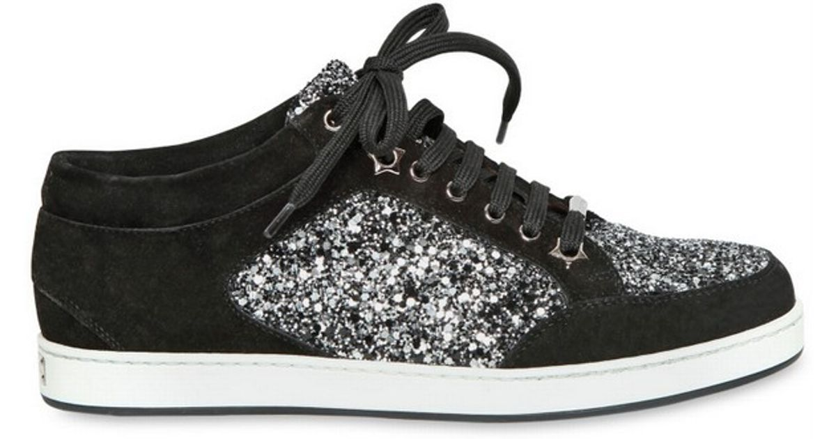 b6500690d2 Jimmy Choo 20mm Miami Coarse Glitter Suede Sneakers in Black - Lyst