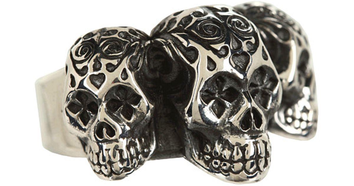 e9a7842c8 King Baby Studio Day Of The Dead Triple Skull Ring in Metallic for Men -  Lyst