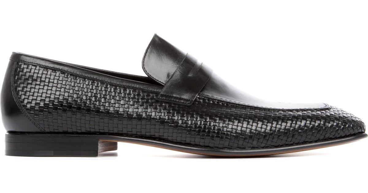 e998e0fa4fc Stemar Woven Penny Loafers in Black for Men - Lyst