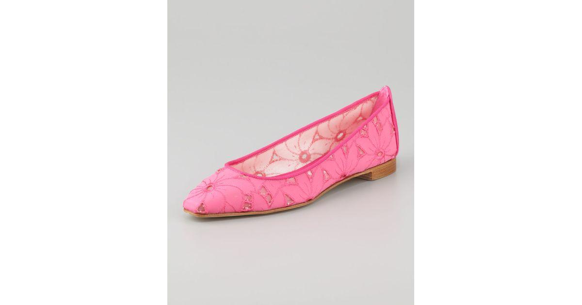 a6547d4659f Lyst - Manolo Blahnik Leela Linen Eyelet Ballerina Flat in Pink
