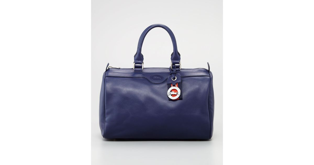 Longchamp Blue Au Sultan Leather Bowler Bag Navy