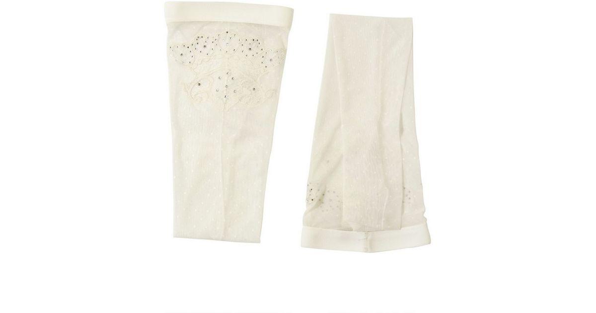 ac225f9f7 Francesco Scognamiglio Swarovski On Lace and Nylon Stockings in White - Lyst