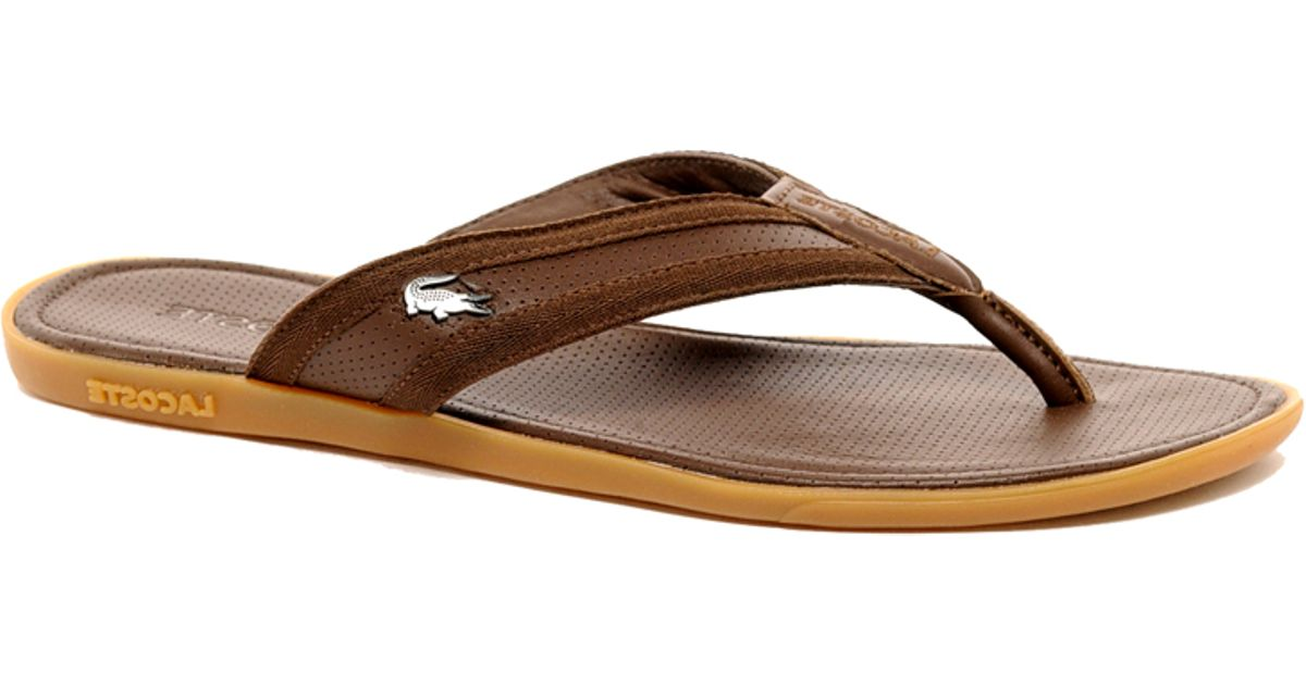 6378666405c3 Lyst - Lacoste Carros Leather Sandals in Brown for Men