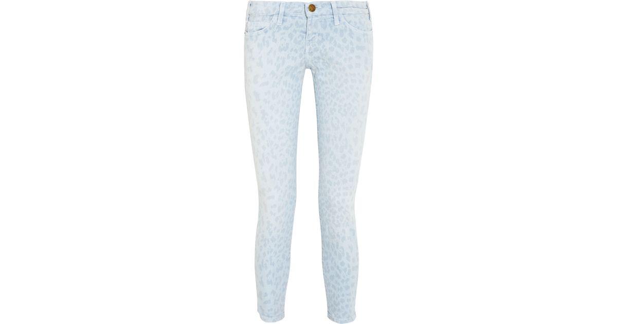 1577cd38d857 Lyst - Current/Elliott The Stiletto Leopard-print Low-rise Skinny Jeans in  Blue