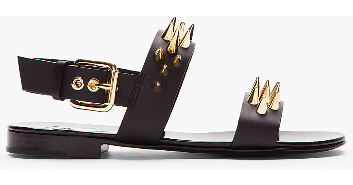 399d7f1fe ... top quality lyst giuseppe zanotti black leather and gold studded zak 10  sandals in black for