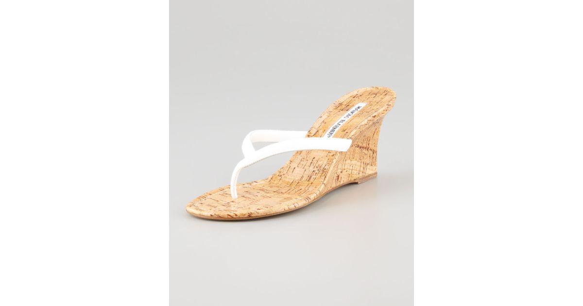 5f25837a7ffc Lyst - Manolo Blahnik Patwedfac Patent Thong Sandal White in Brown