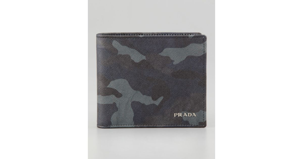 4e8c7958 Prada Blue Saffiano Bifold Wallet for men