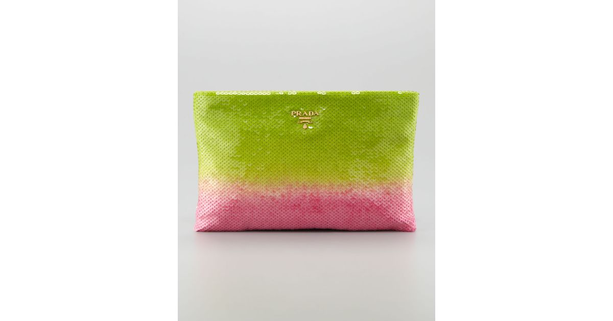 a66fbcc9c75f Lyst - Prada Degrade Sequin Pouch Clutch Bag in Pink