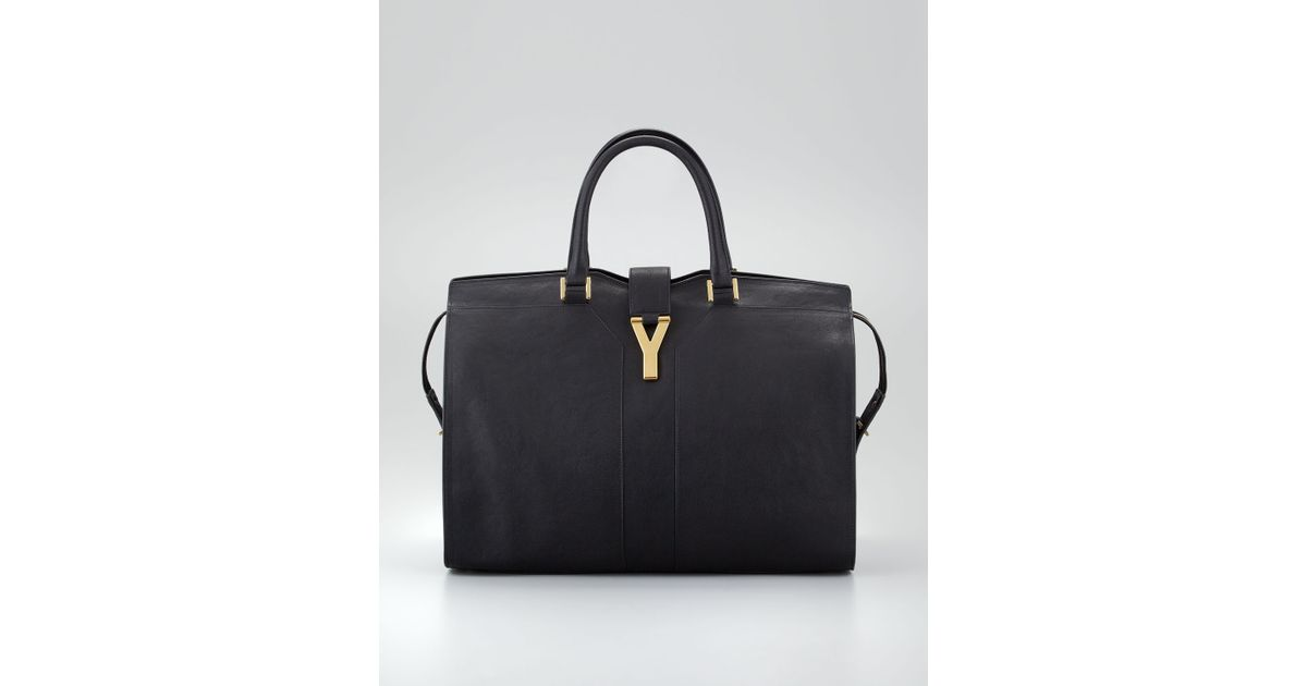 b9e4feb00ab8 Lyst - Saint Laurent Cabas Chyc Ranch Leather Large Tote Bag in Black