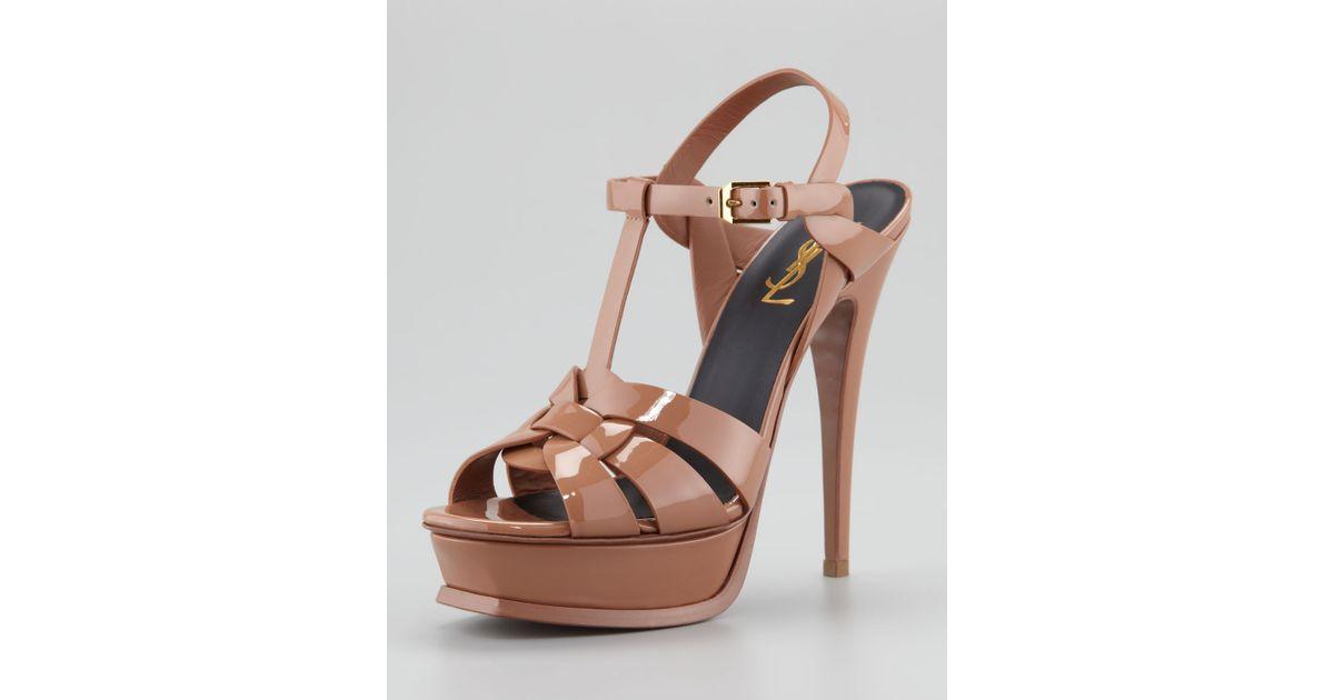 4f1d8bd3b08ea Lyst - Saint Laurent Tribute Patent Leather Sandal in Brown