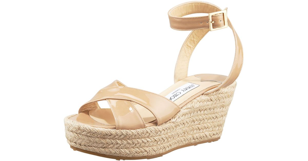 136597c8f1b2 Lyst - Jimmy Choo Pepper Patent Leather Espadrille Wedge Sandal Nude in  Natural