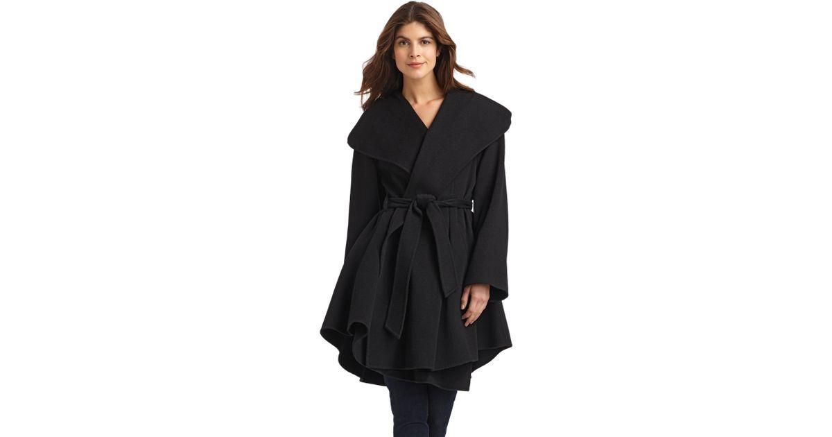 Dawn levy Wool Cashmere Wrap Coat in Black | Lyst