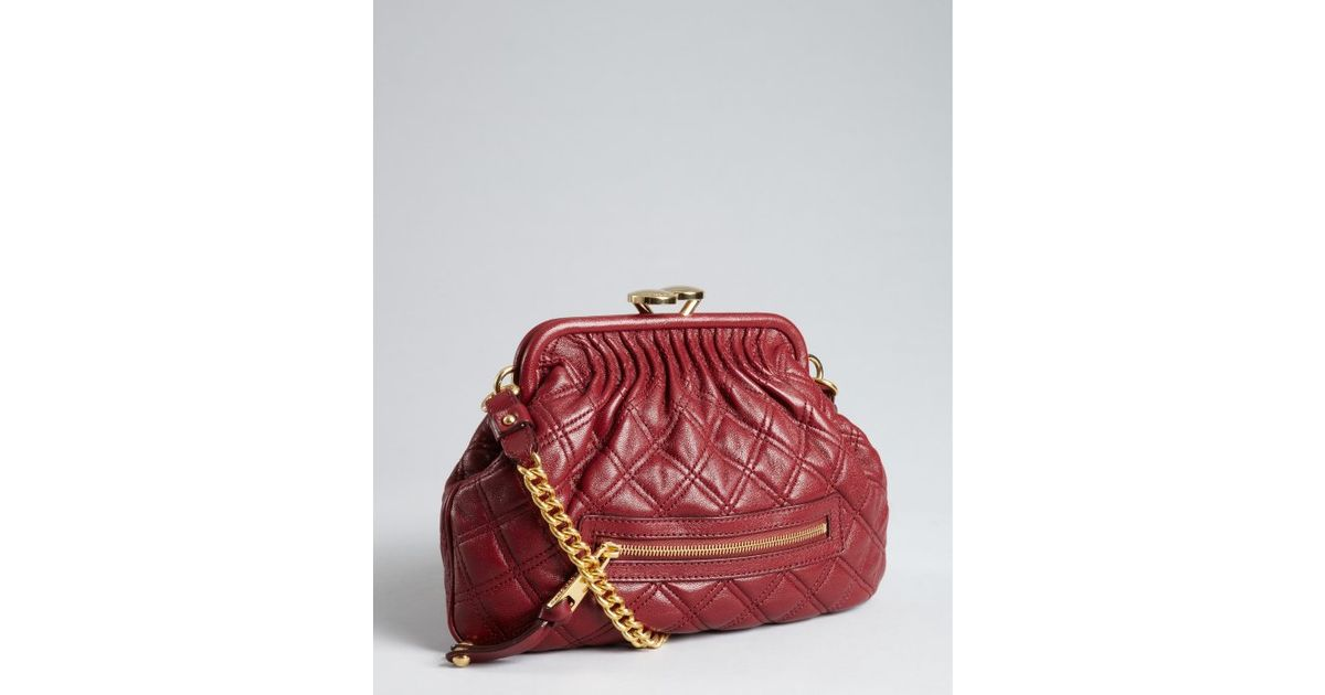 Lyst Marc Jacobs Oxford Quilted Leather Little Stam Kisslock Chain Small Shoulder Bag In Red