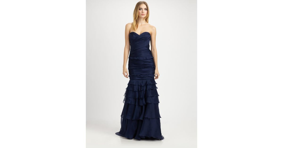 Lyst - Theia Strapless Silk Organza Gown in Blue