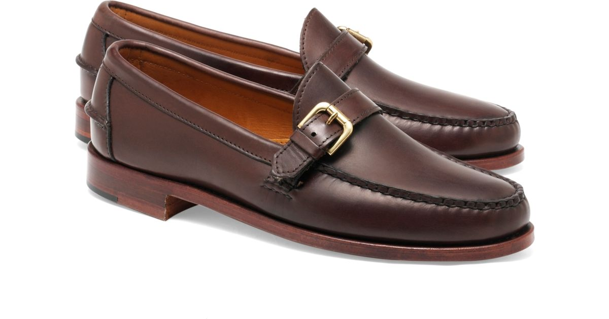 a1b492eed719f Brooks Brothers Rancourt & Co Calfskin Buckle Loafers in Brown for Men -  Lyst