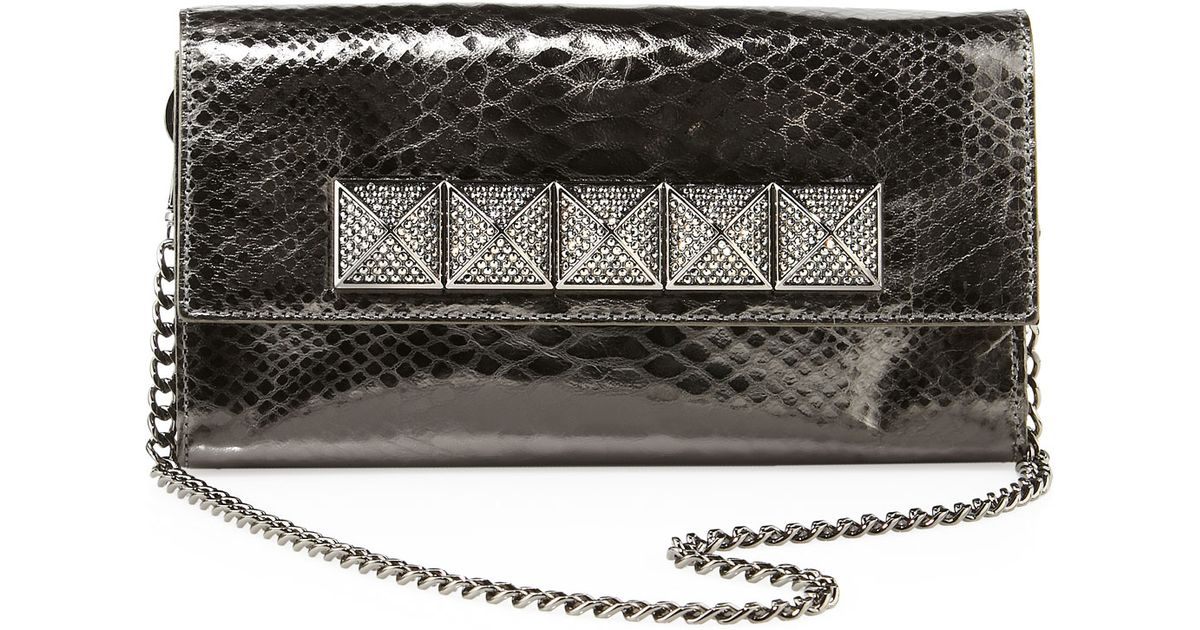 c53795fe79f8 ... discount code for michael michael kors antonia python embossed clutch  bag in metallic lyst 4440a 9a1b4