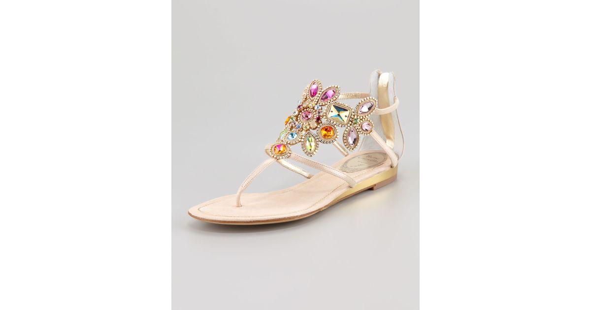 77c97ed56 Lyst - Rene Caovilla Jeweledcuff Thong Sandal in Natural