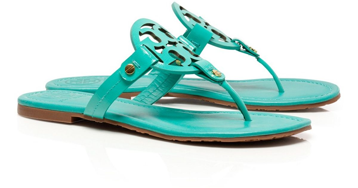 3ea3851e85769d Lyst - Tory Burch Patent Leather Miller Sandal in Green