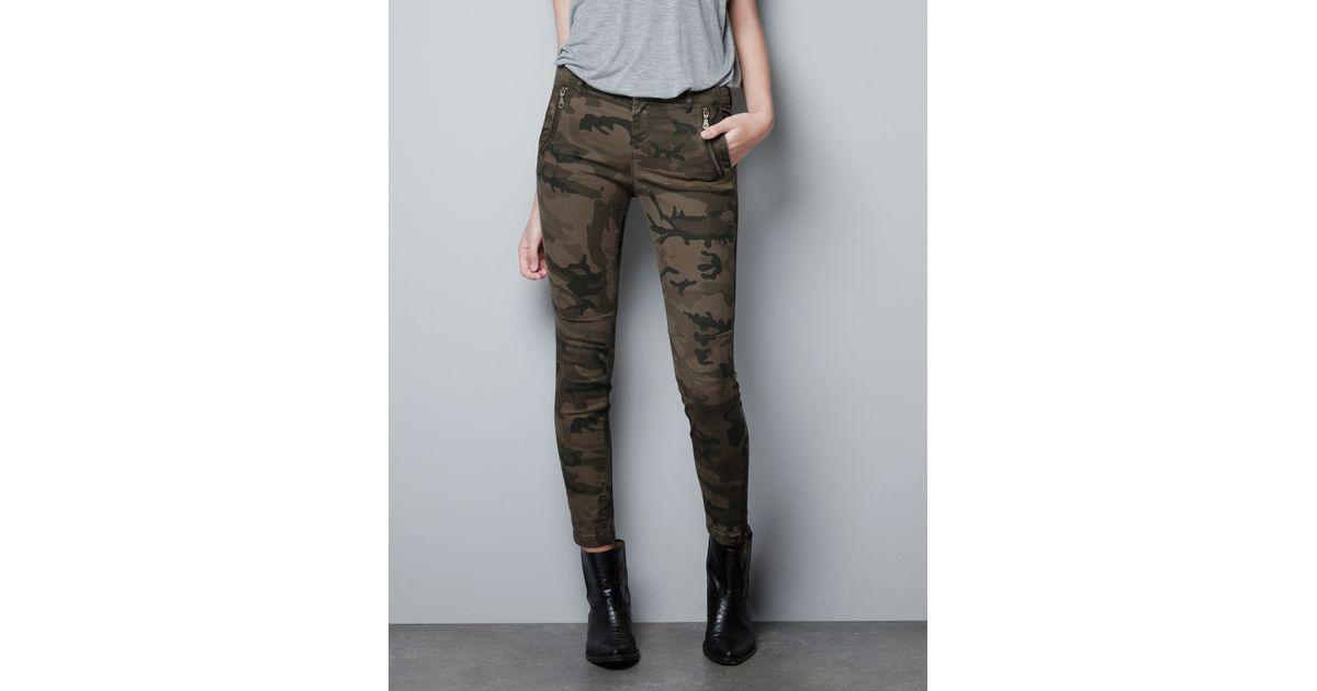 Cool Zara Camouflage Skinny Trousers In Khaki  Lyst