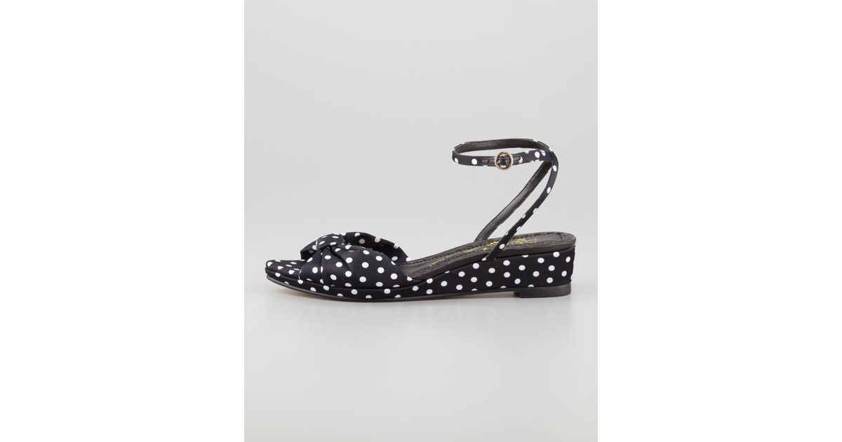Dot Wedge Polka Low Black Sandal AliceOlivia Alexi Faille Qhrdts