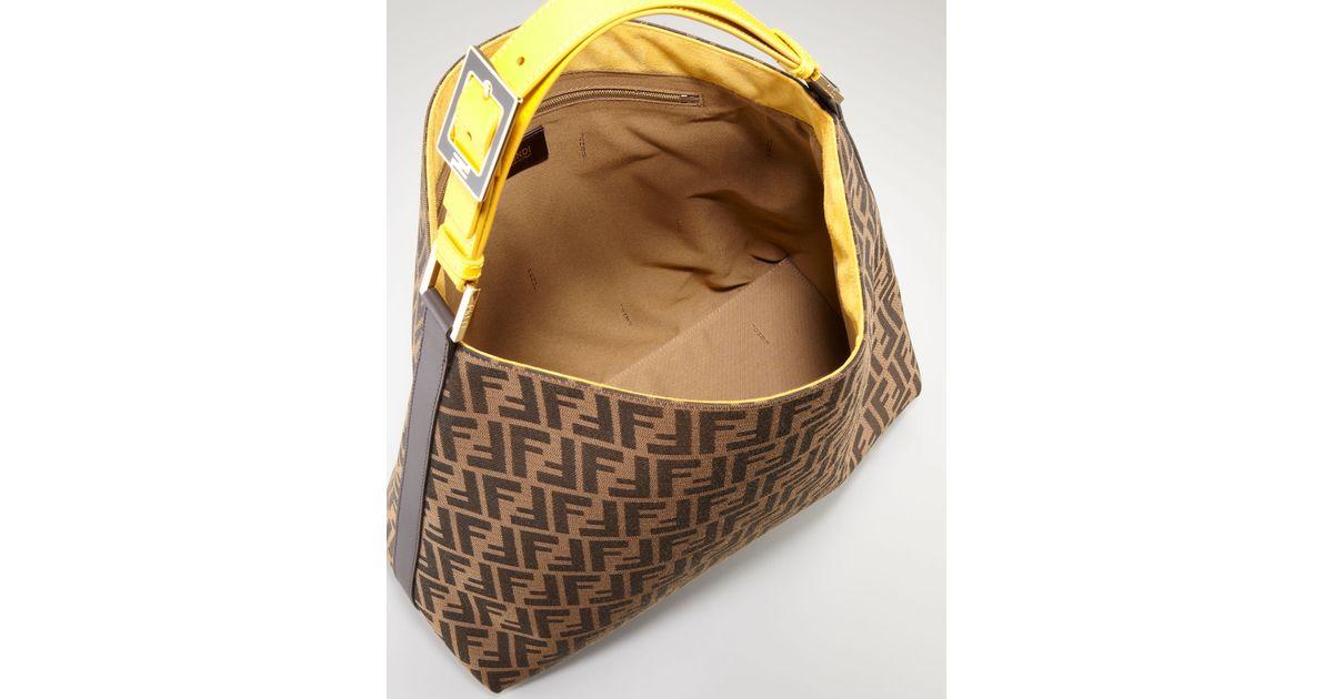 fa7dbfaa55 Lyst - Fendi Zucca Large Hobo Bag in Yellow