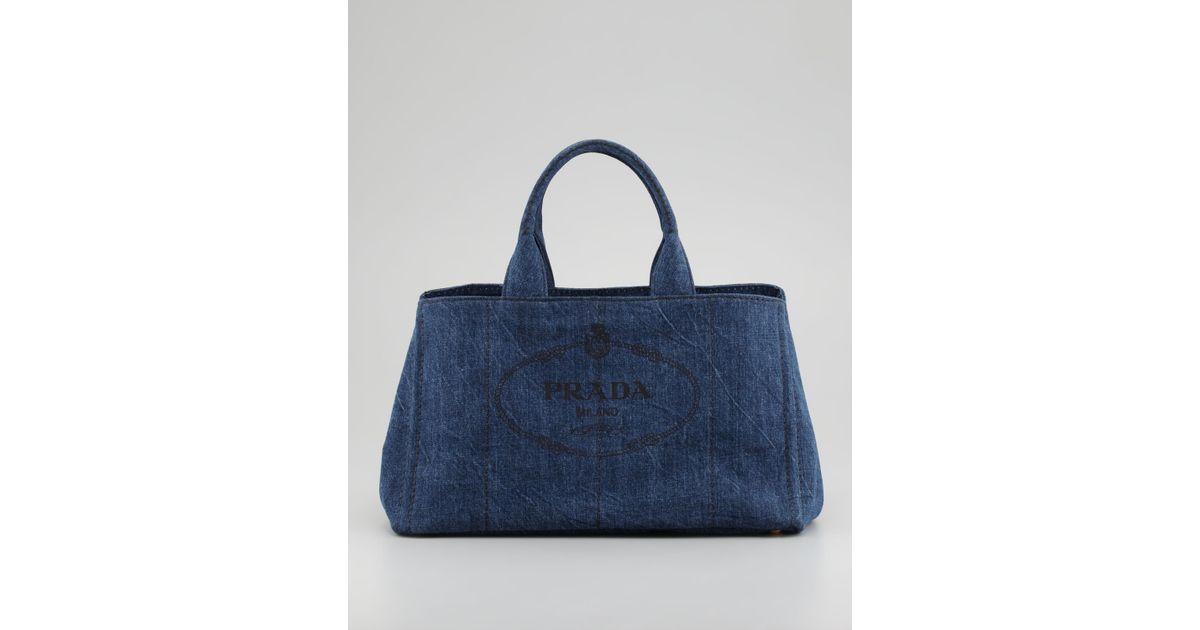 13288f3f2e71 czech prada denim small gardeners tote bag in blue lyst c7e57 e96f7
