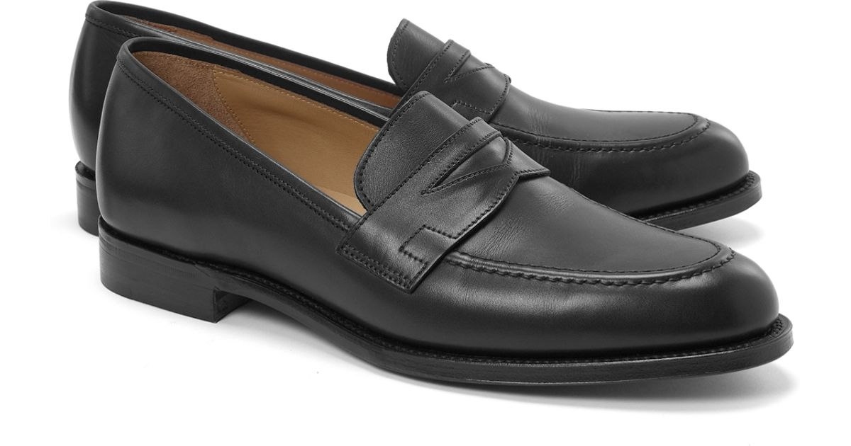 9d230358cb8 Lyst - Brooks Brothers Peal Co Lightweight Penny Loafers in Black for Men