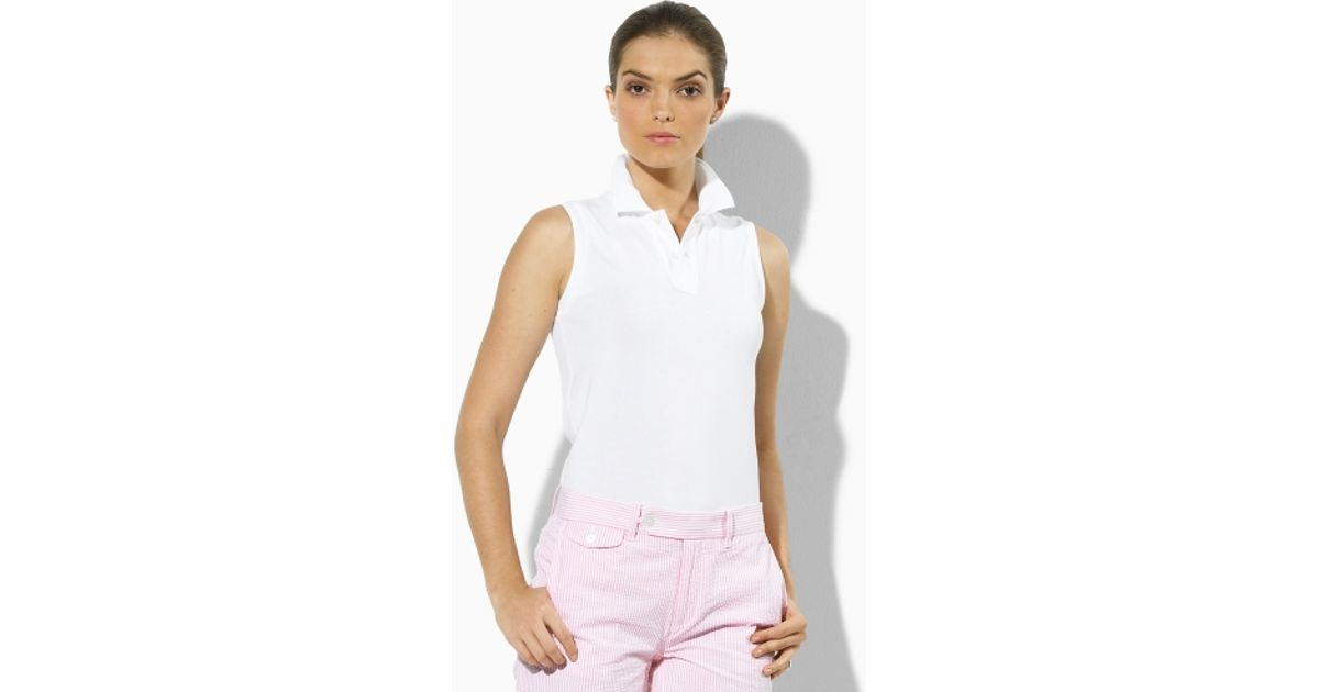 161be48303af1 Lyst - Ralph Lauren Golf Sleeveless Cotton Polo Shirt in White