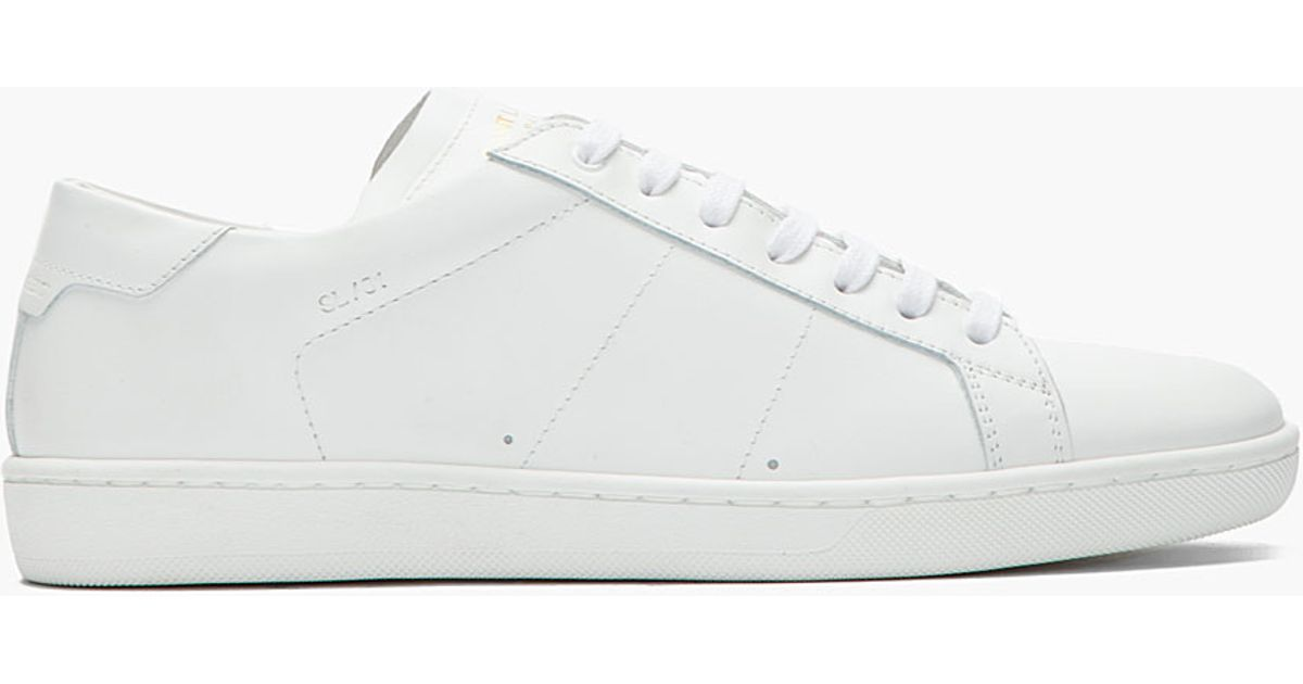 e0ab1cdd574 Lyst - Saint Laurent White Leather Lowtop Sneakers in White for Men