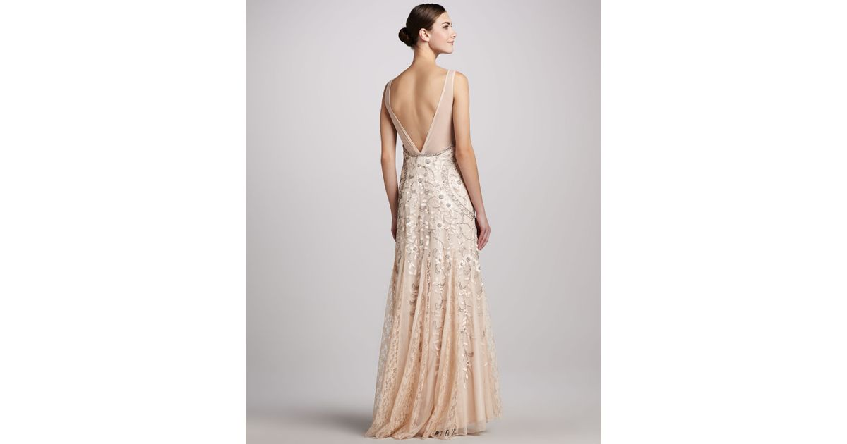 Lyst - Sue Wong Sleeveless Beaded Gown in Natural