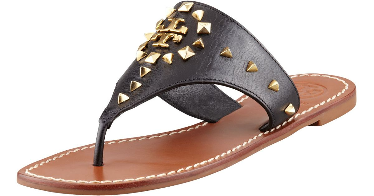 18ab422da135 Lyst - Tory Burch Dale Studded Thong Sandals in Black