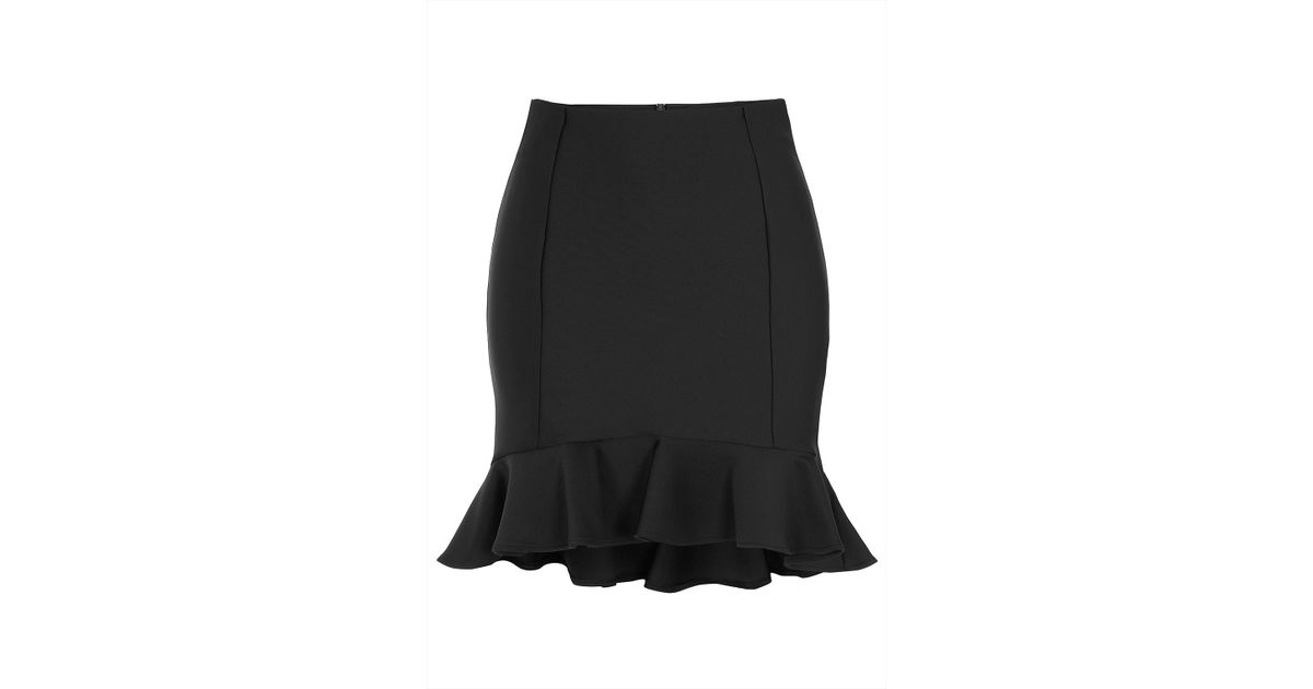 67d6f6c63aa0 TOPSHOP Black Ruffle Hem Skirt in Black - Lyst