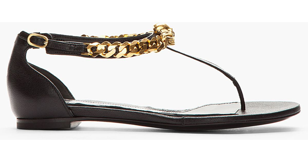 Leather Sandals Black Mcqueen Alexander Chain Skull And bfgvyY76