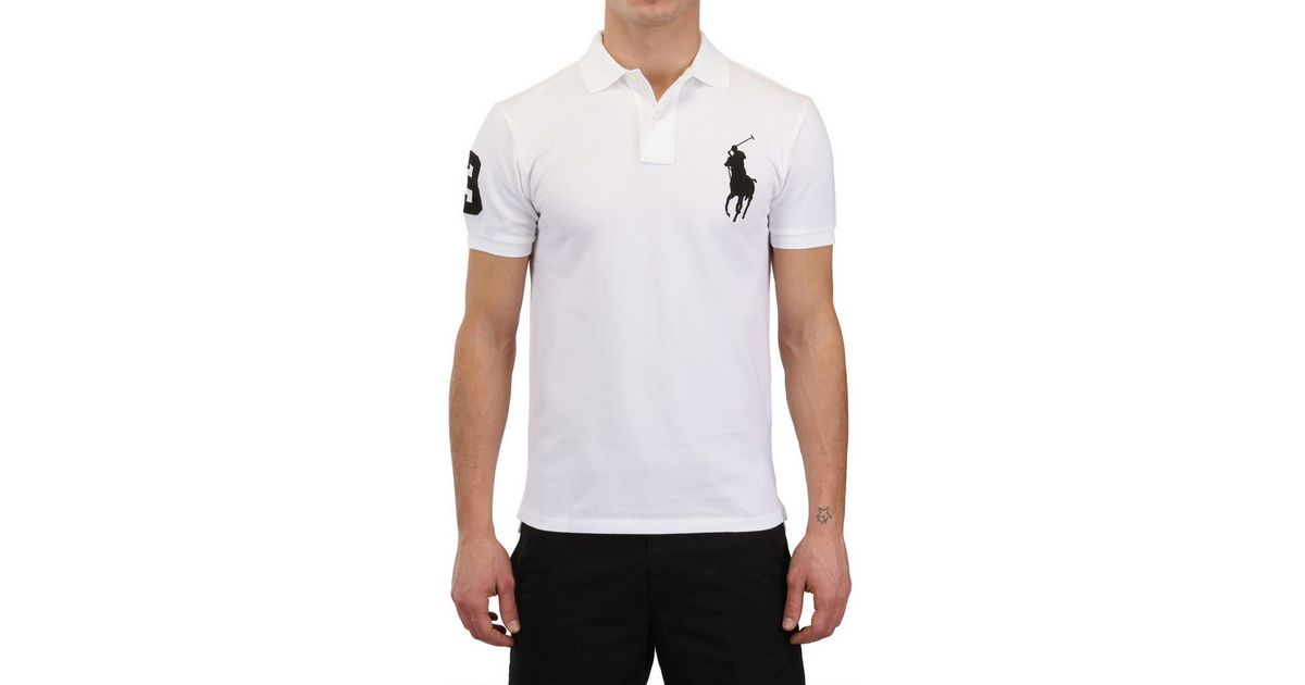Ralph Lauren Blue Label Piquet Slim Fit Big Logo Polo in White for Men -  Lyst 3de1feb2fa90