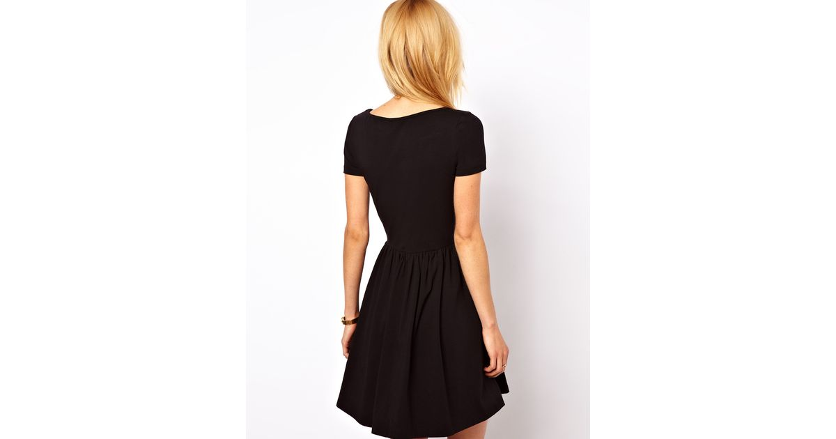 5616a453f9 Lyst - ASOS Skater Dress with Slash Neck and Short Sleeves in Green