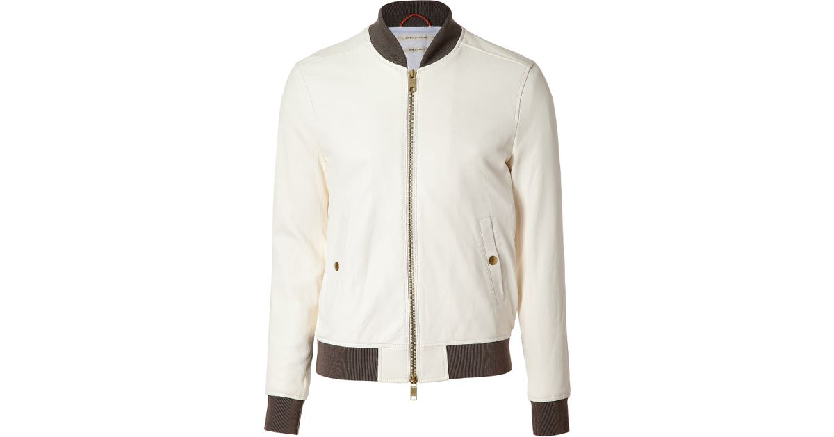 Marc jacobs White Leather Baseball Jacket in White for Men | Lyst