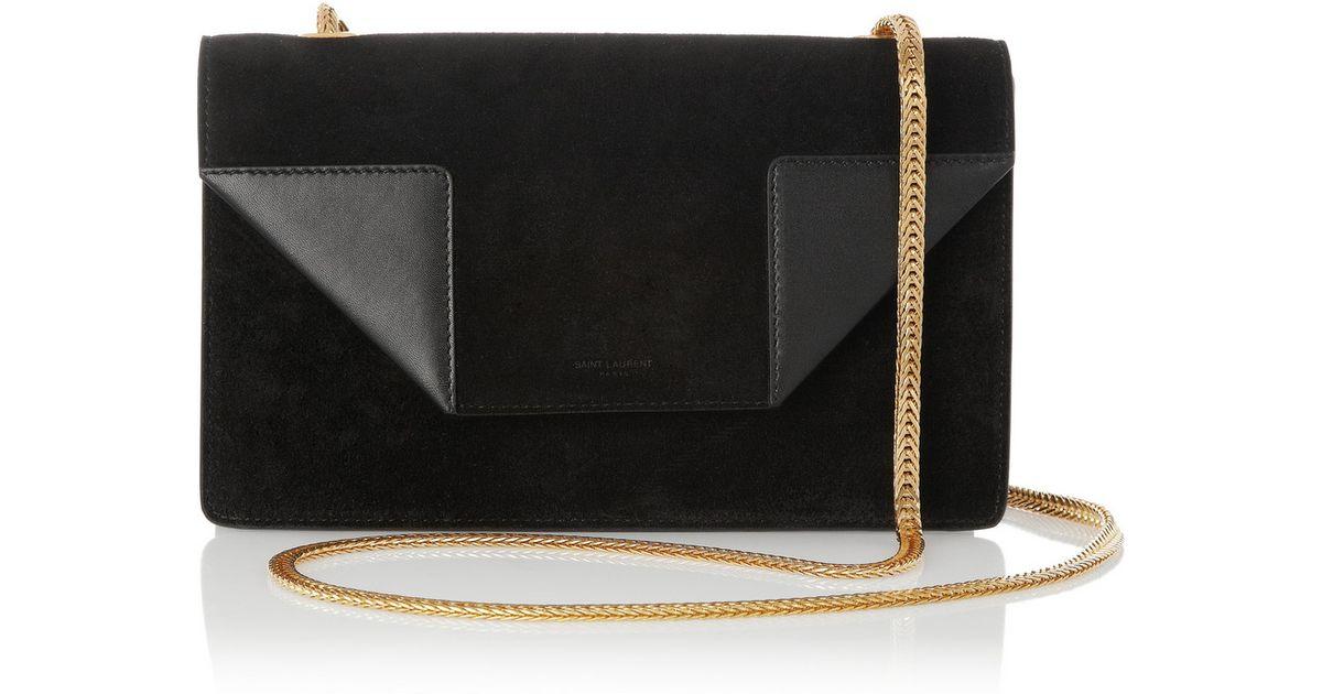 Lyst - Saint Laurent Betty Mini Chain Suede Shoulder Bag in Black d31eb5ac2d94e
