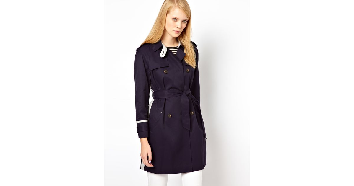 ef2592a5e6bfd Lyst - Whistles Riley Colour Block Trench in Blue