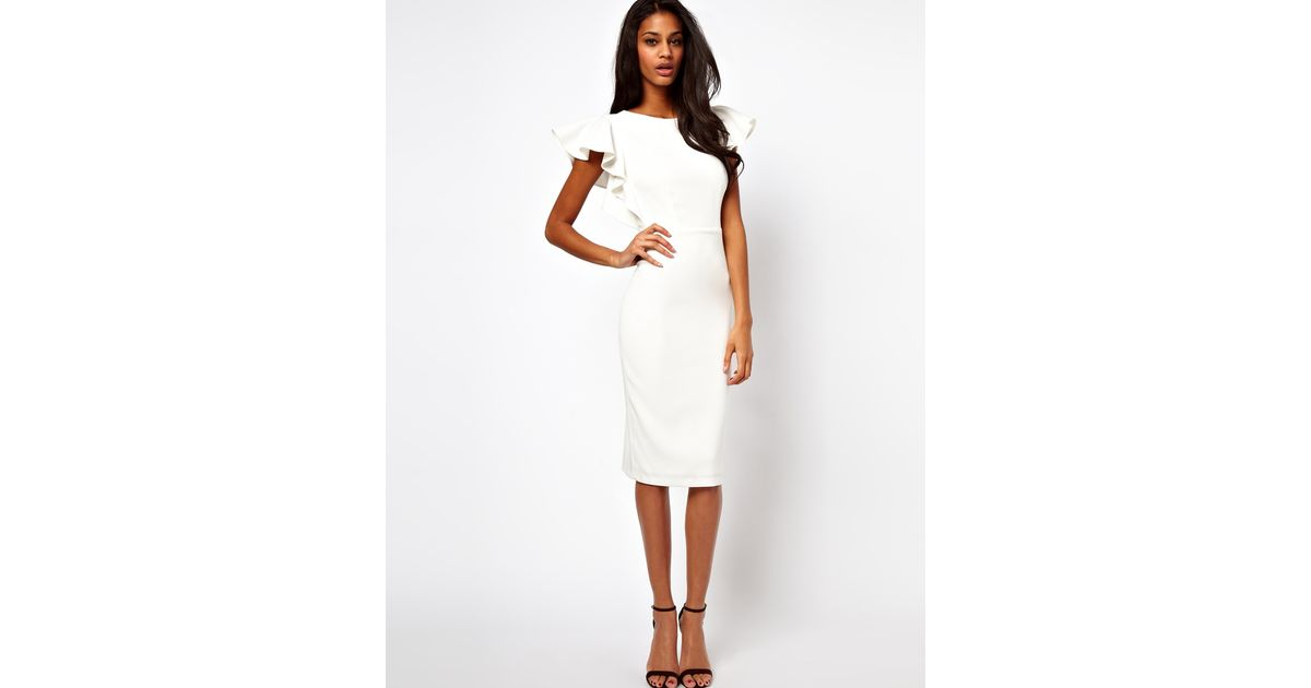 Asos Pencil Dress with Ruffle Sleeves in White | Lyst