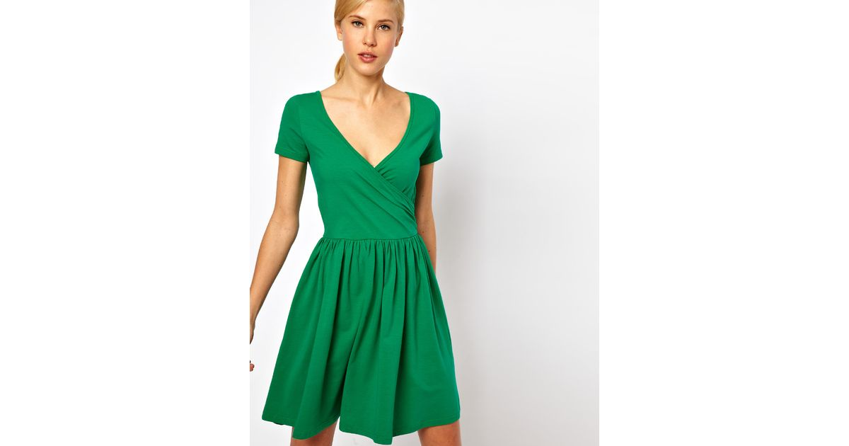 Lyst - Asos Skater Dress with Ballet Wrap and Short Sleeves in Green