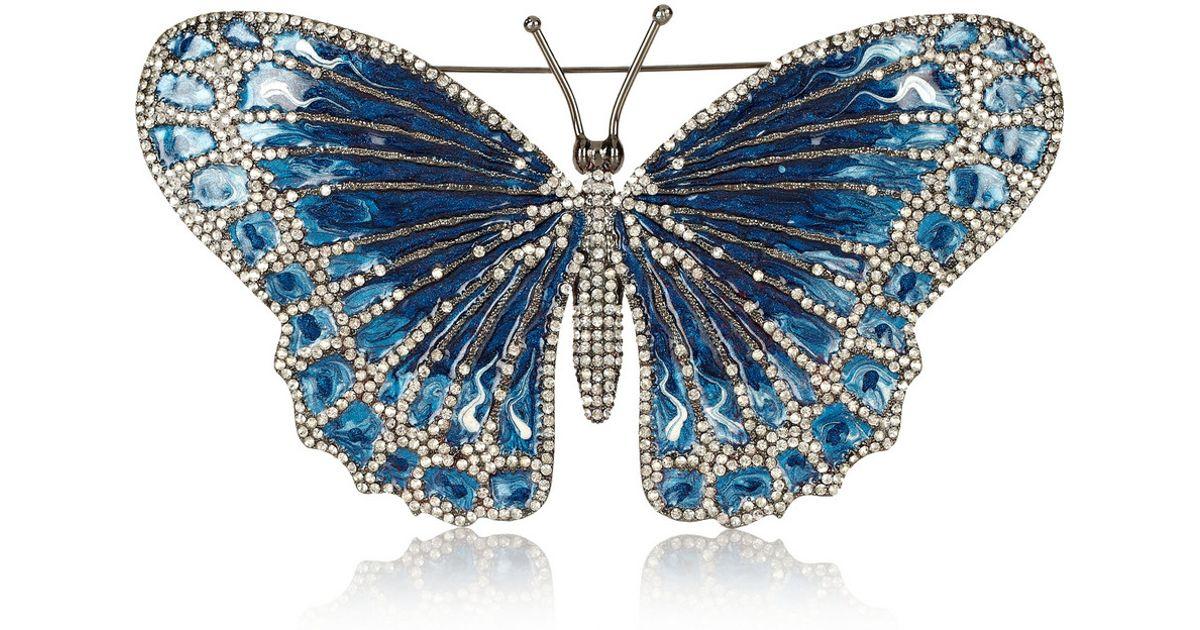Valentino Rhodiumplated Swarovski Crystal Butterfly Brooch