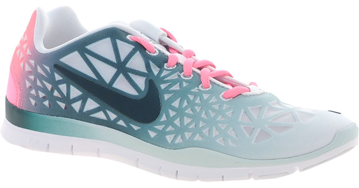 nike free training fit 3 dye white/green trainers shoes