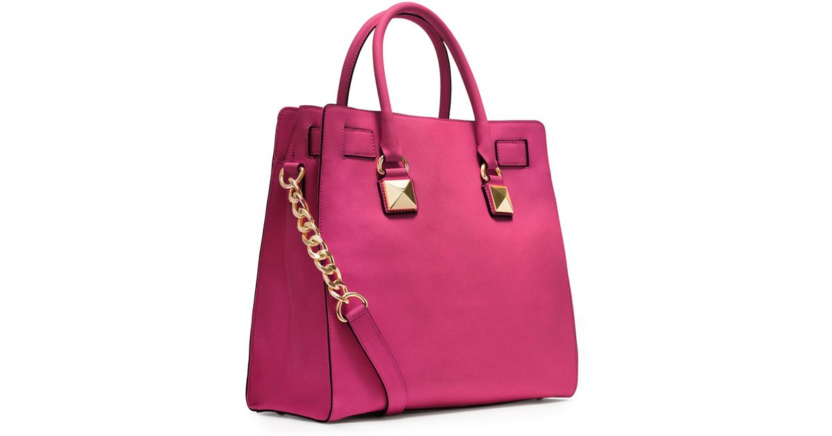 7124cfd8f654a Lyst - MICHAEL Michael Kors Large Hamilton Pyramidstud Tote in Pink